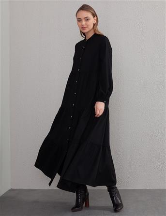 Parçalı Volanlı Elbise Siyah A20 23167