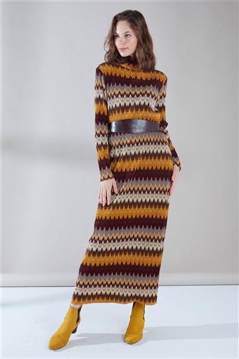 ZÜHRE Deri Kemer Detaylı Elbise Hardal E-0096 Z19KB0096ELB101-R1099