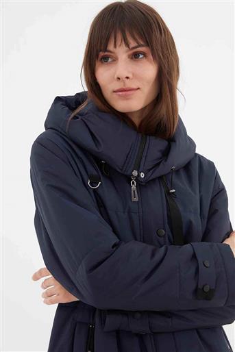 Kapşonlu Yandan Cepli Kadın Şişme Mont Lacivert V20KKPM27028
