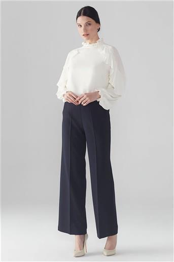 ZÜHRE Bel Lastik Detaylı Bol Paça Lacivert Pantolon P-0102 Z21YBP-0102PT10001-R1150