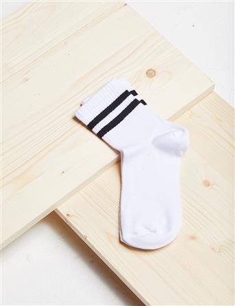 Çizgili Çorap B21 CRP01 Beyaz