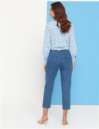 Basic Mom Jeans Mavi B21 19079