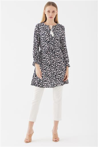 Flower Patterned Tunic-Navy Blue UA-1S10045-17
