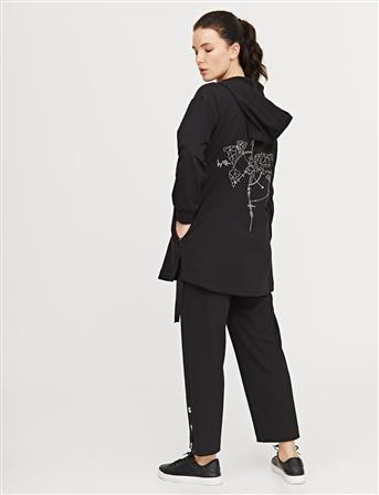 Pusula İşlemeli Spor Ceket Siyah B21 13006