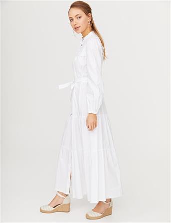Nakış İşlemeli Brode Elbise Beyaz B21 23136