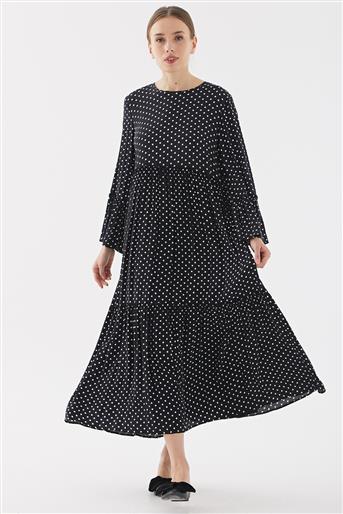 Puantiyeli Elbise-Siyah TK-Y7023-09