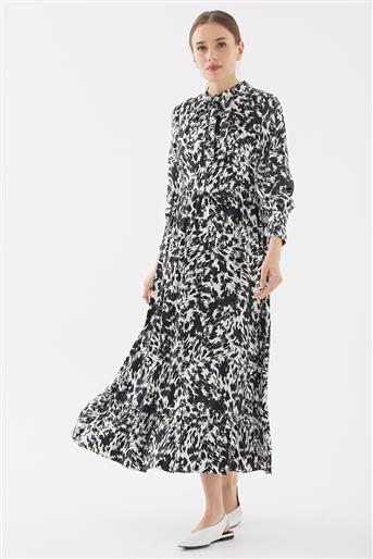 Empirme Kıravatlı Elbise-Siyah TK-Y6560-09