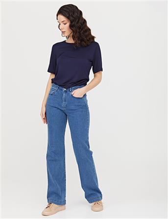 Flare Cut Denim Pantolon Mavi B21 19116