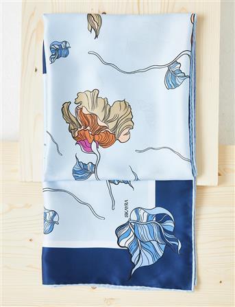 Çiçek Desenli PES Eşarp Lacivert B21 ESP82