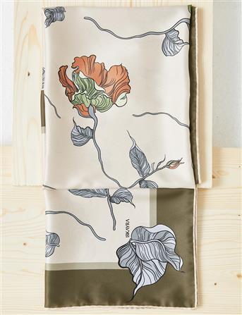 Çiçek Desenli PES Eşarp Bej B21 ESP82
