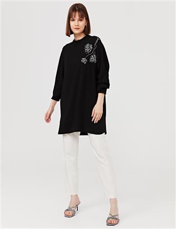 Nakışlı Sıfır Yaka Bluz Siyah B21 10133