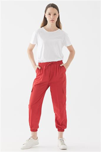 Beli Lastikli Kargo Pantolon-Kırmızı 119301-34
