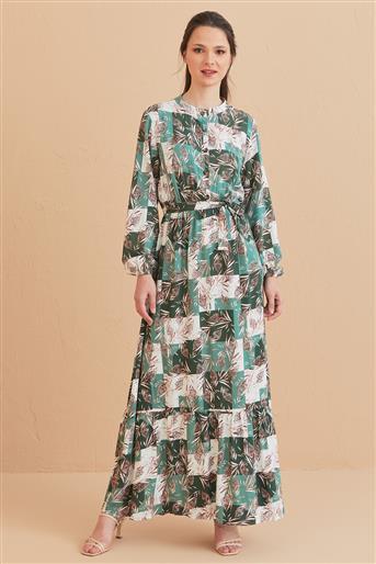 Yaprak Desenli Elbise-Mint 1017003-24
