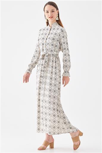 Desenli Elbise-Bej 10220005-11