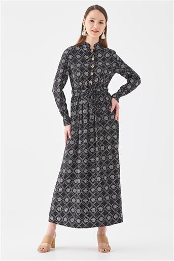 Desenli Elbise-Siyah 10220005-01
