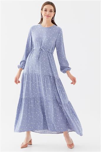 Çiçek Desenli Elbise-Mavi 1160802-70