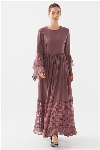 Dantel Detaylı Elbise-Gül Kurusu 1160674-53