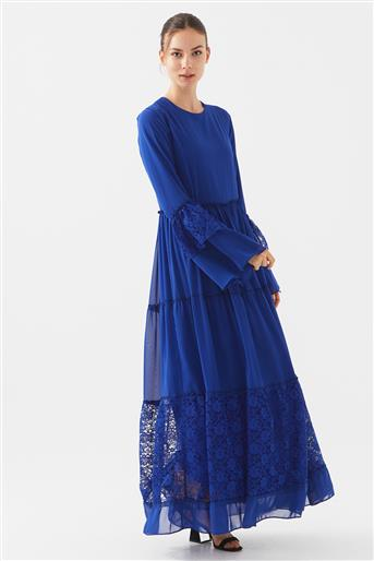 Dantel Detaylı Elbise-Saks 1160674-47