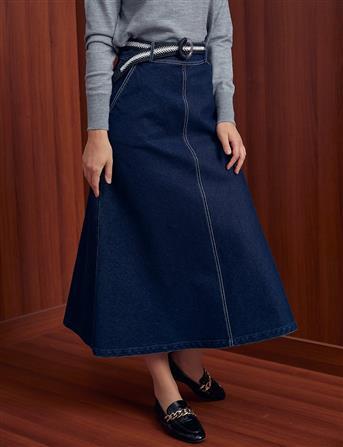 Skirt-Navy Blue Kayra-KA-A20-12033-11