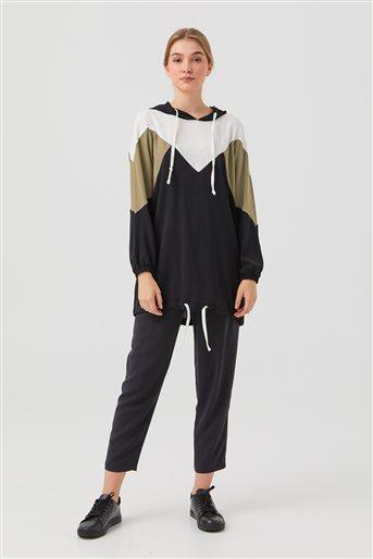 Kapşonlu İki Renkli Tunik-Siyah 1210003-01