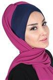 Ayşe Tasarim Shawl-Navy Blue-Fuchsia BS-0002-1-1