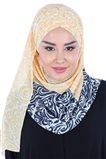 Ayşe Tasarim Shawl-Navy Blue-Yellow CPS-502-LS