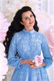 Blue Dream Tesettür Elbise-Mavi 180126-70
