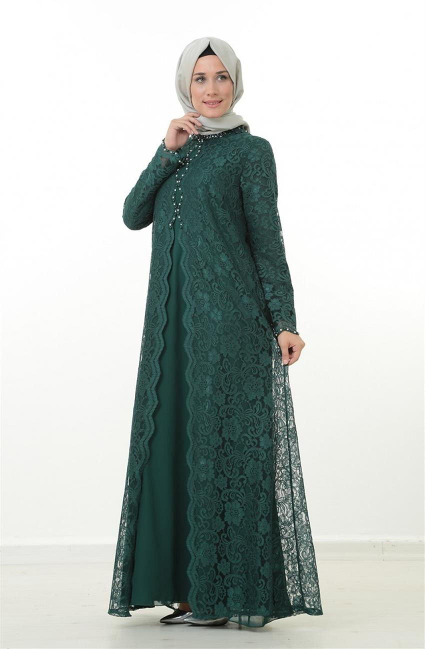 Evening Dress Dress-Green 1165-21 - 7
