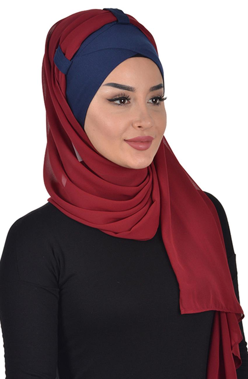 Shawl-Navy Blue-Claret Red Bs-0001-1-7 - 8