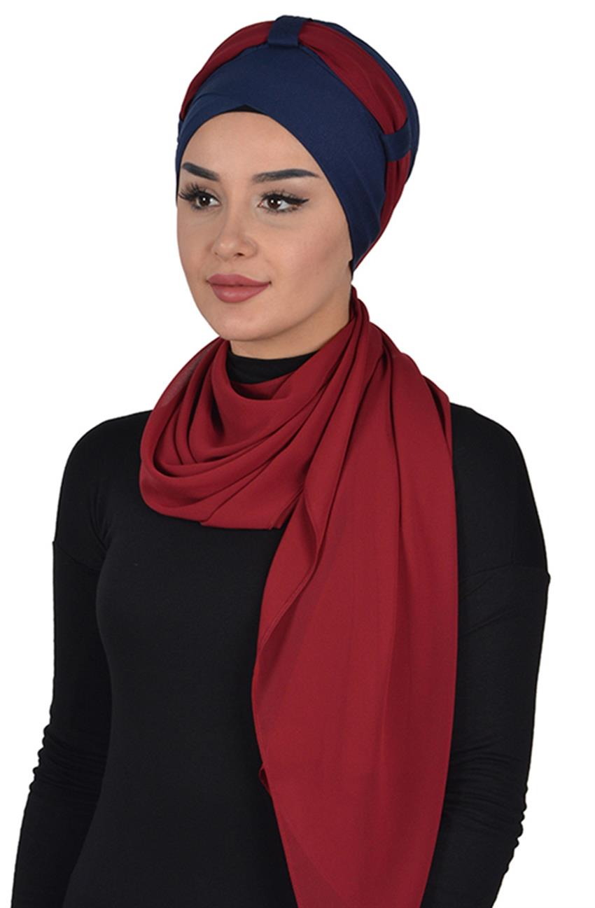 Shawl-Navy Blue-Claret Red Bs-0001-1-7 - 5