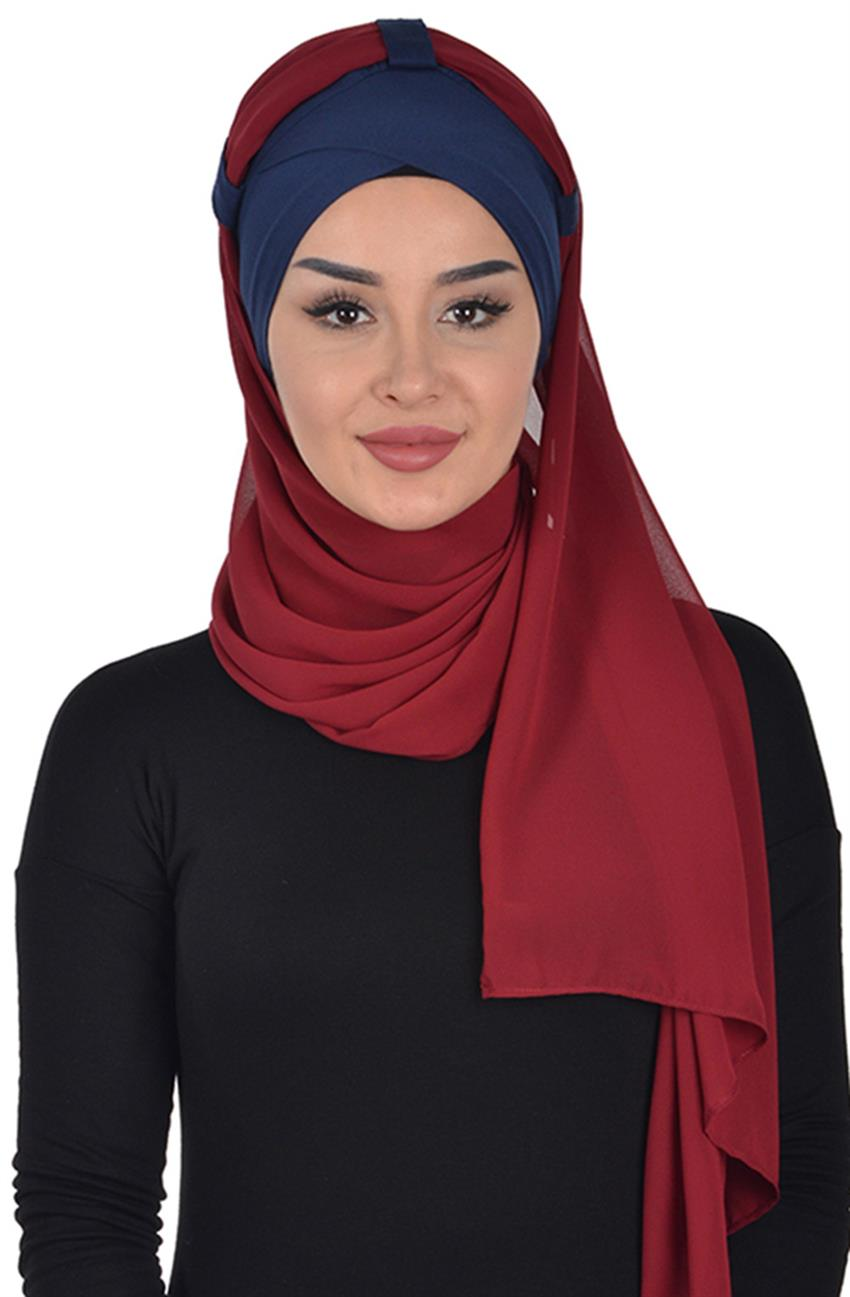 Shawl-Navy Blue-Claret Red Bs-0001-1-7 - 7