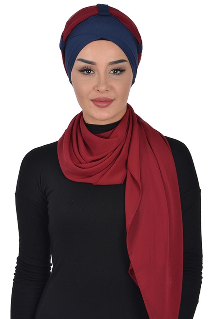 Shawl-Navy Blue-Claret Red Bs-0001-1-7 - 6