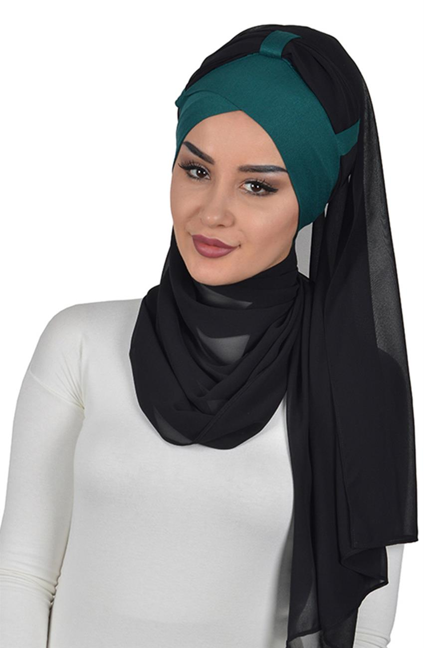 Shawl-Dark Green-Black Bs-0001-14-14 - 6