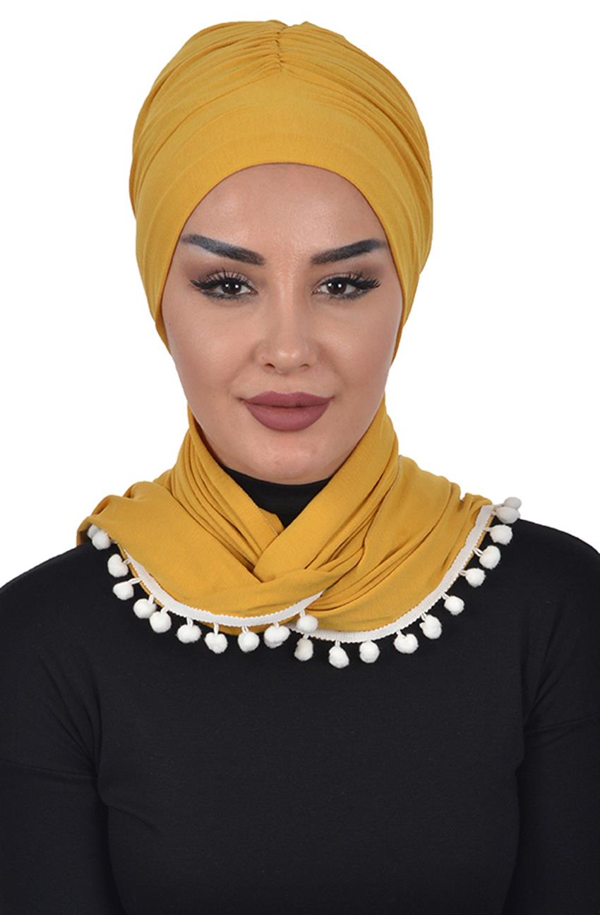 Bonnet Shawl-Mustard Bt-0002-11 - 6