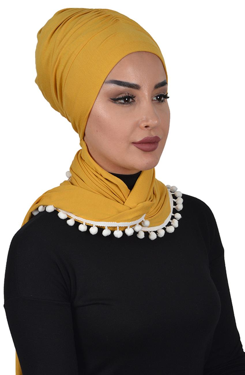 Bonnet Shawl-Mustard Bt-0002-11 - 7