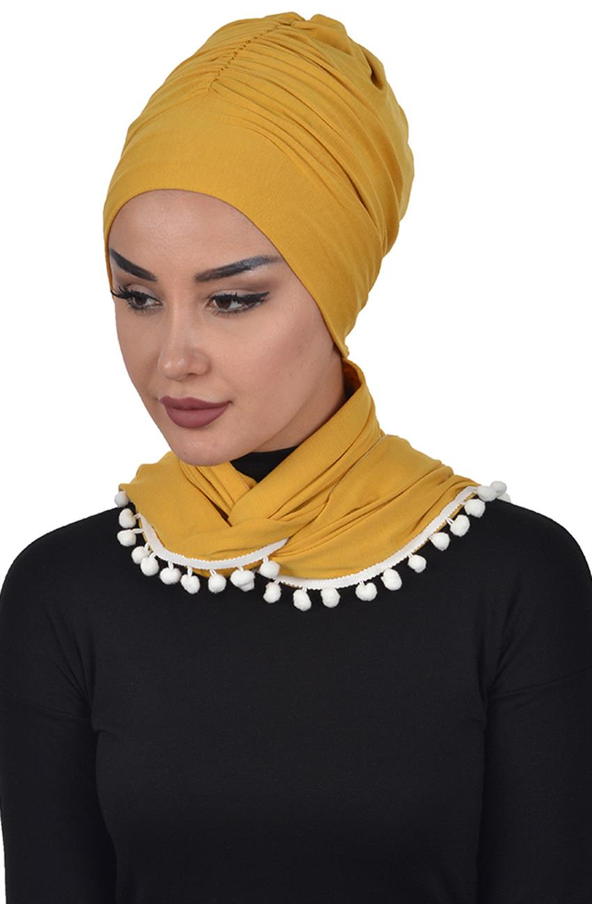 Bonnet Shawl-Mustard Bt-0002-11 - 5