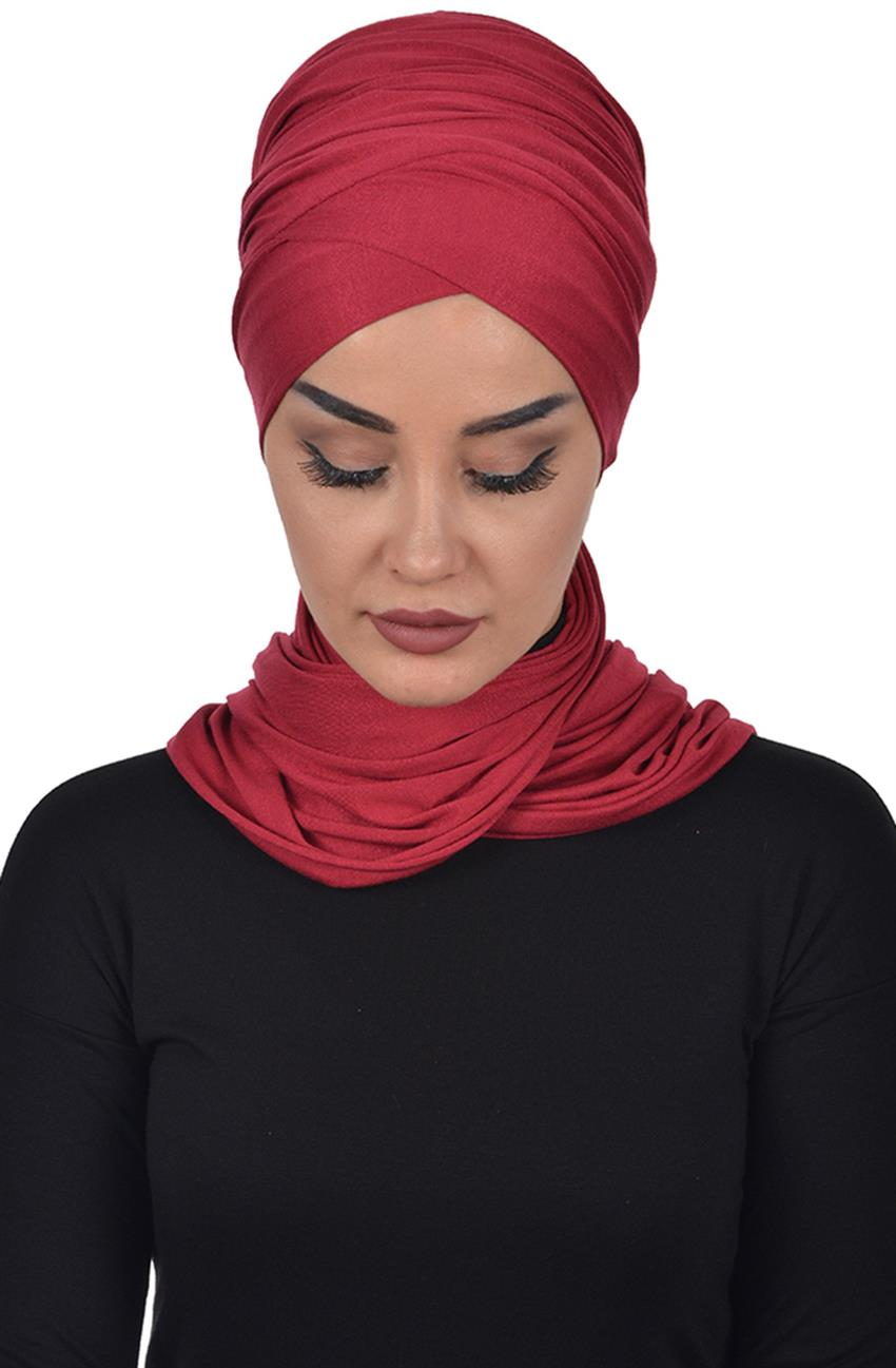 Bonnet Shawl-Claret Red Bt-0003-3 - 5