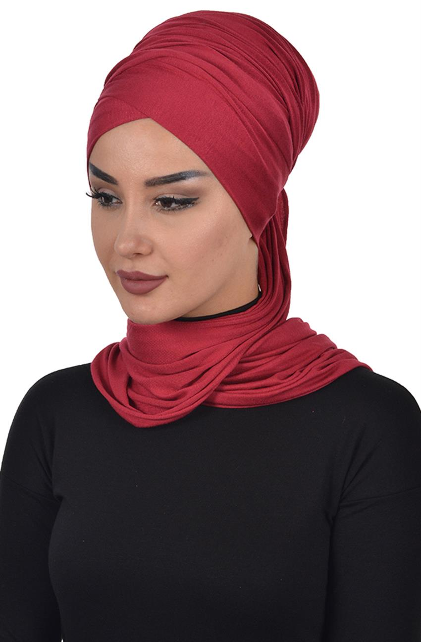 Bonnet Shawl-Claret Red Bt-0003-3 - 4