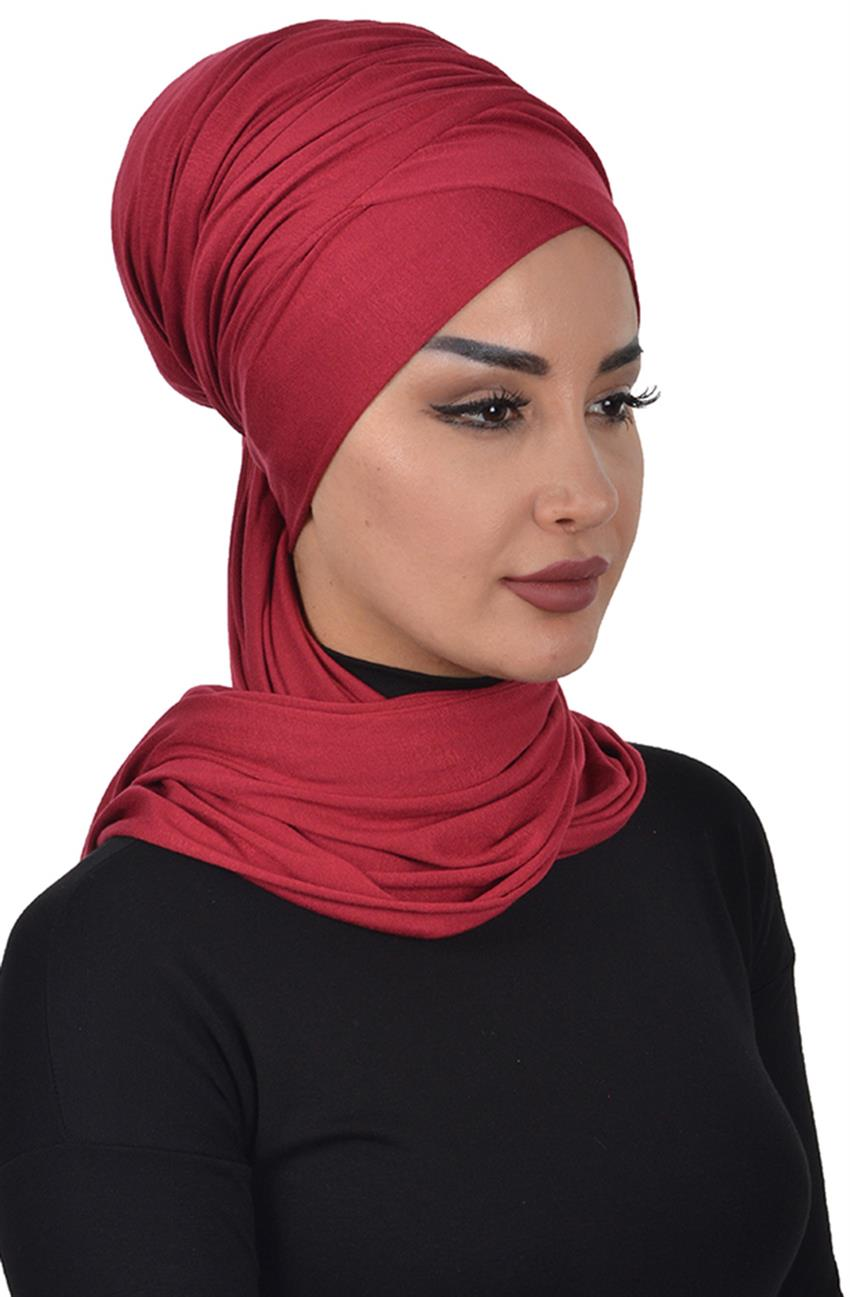 Bonnet Shawl-Claret Red Bt-0003-3 - 6