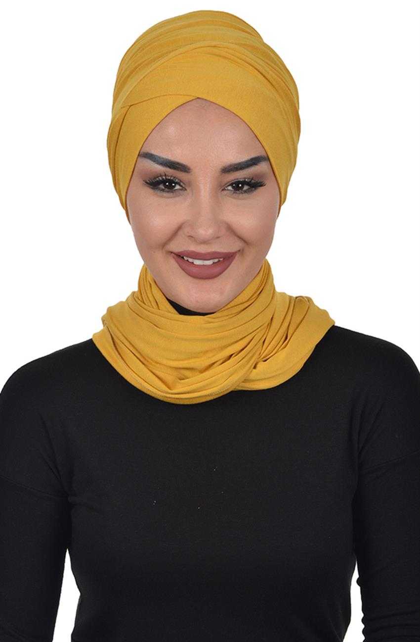 Bonnet Shawl-Mustard Bt-0003-11 - 6