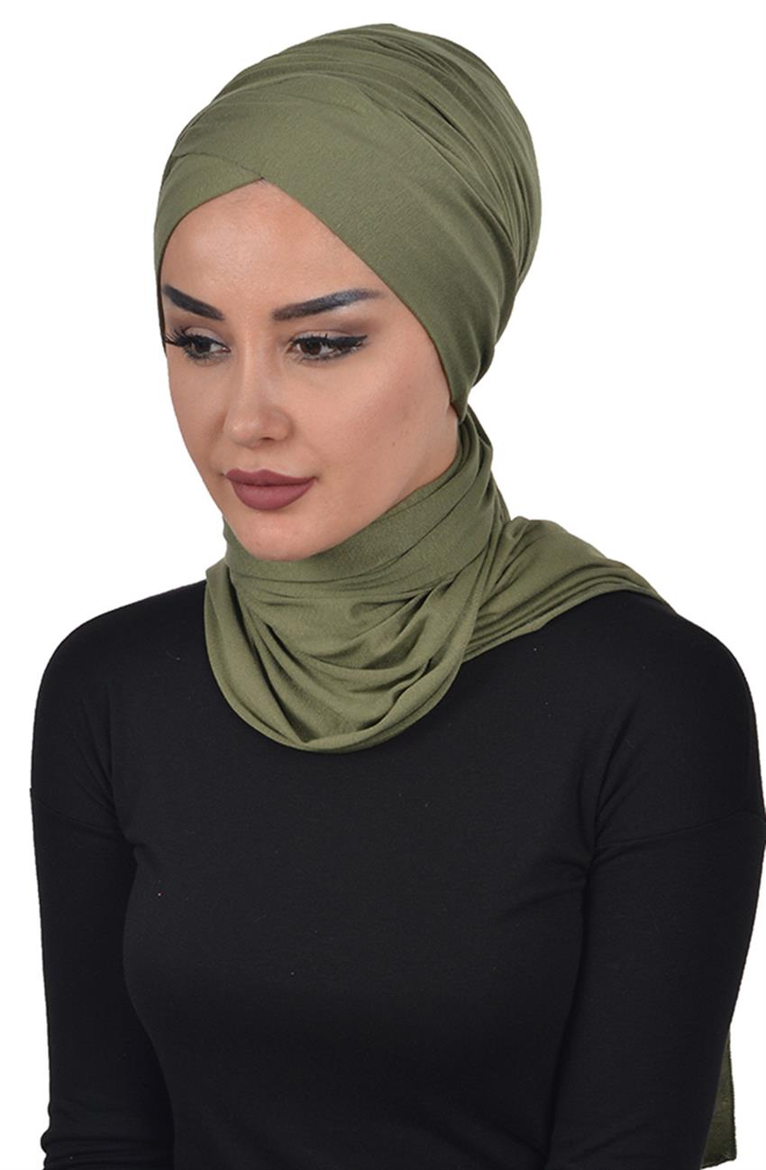 Bonnet Shawl-Khaki Green Bt-0003-13 - 5