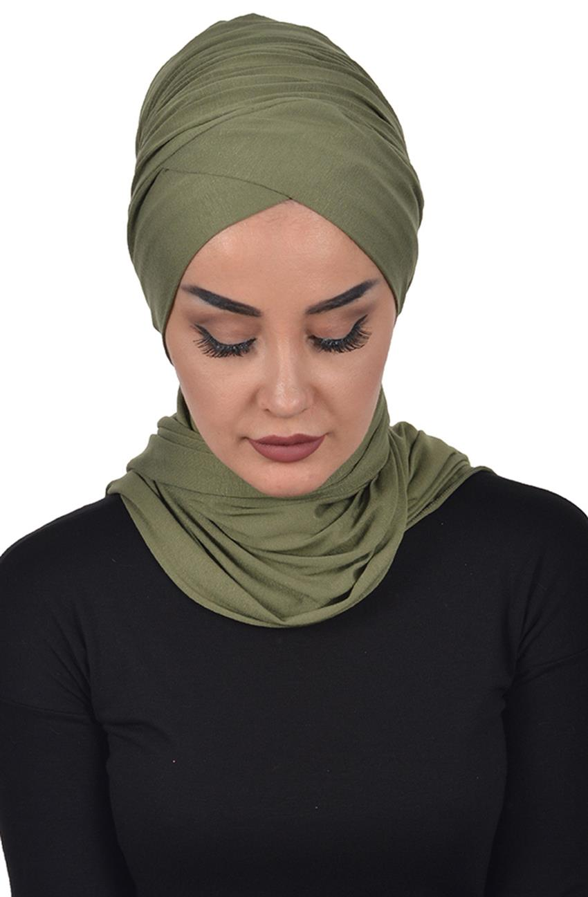 Bonnet Shawl-Khaki Green Bt-0003-13 - 8