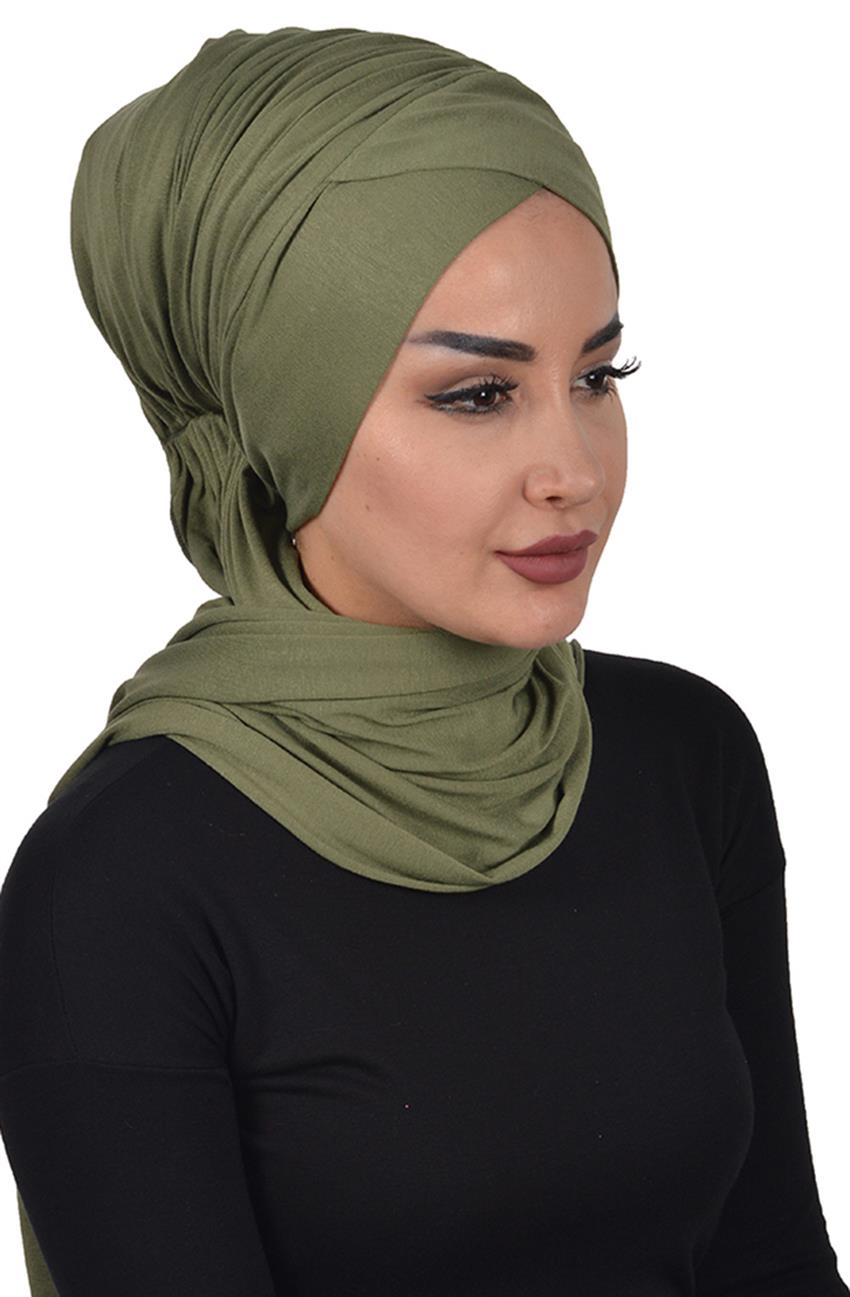 Bonnet Shawl-Khaki Green Bt-0003-13 - 7