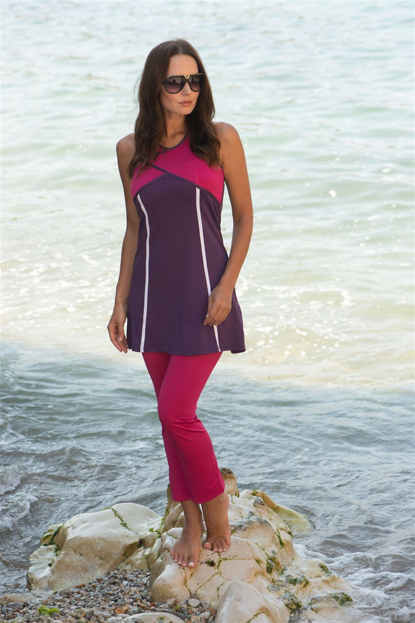 Covered Swimsuit-Purple 1809-45 - 6