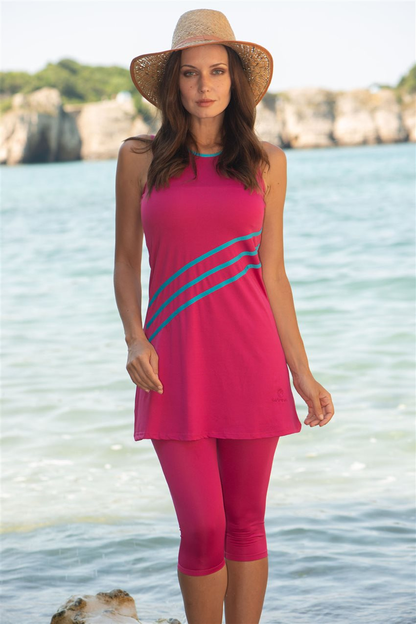 Covered Swimsuit-Fuchsia 1807-43 - 5