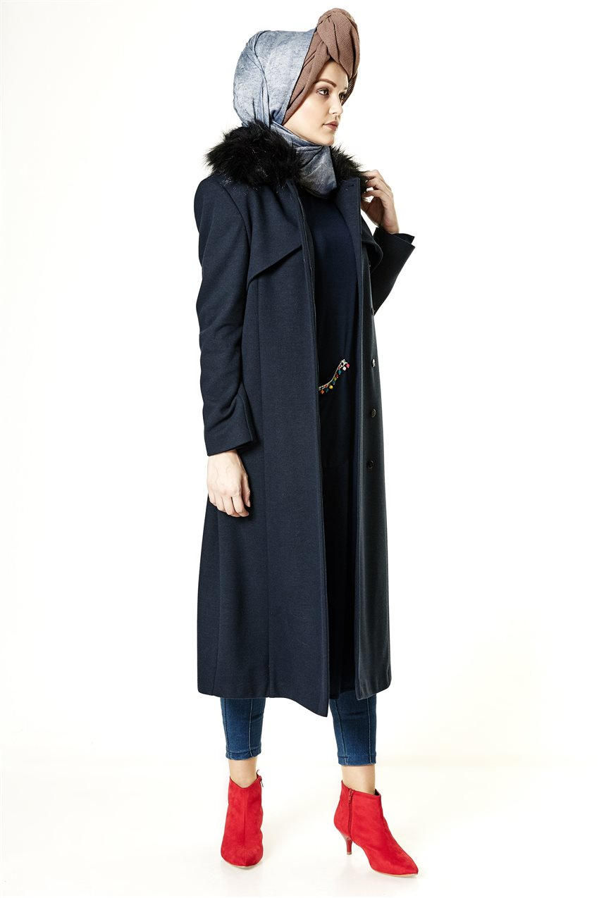 Coat-Navy Blue A2132-08 - 9