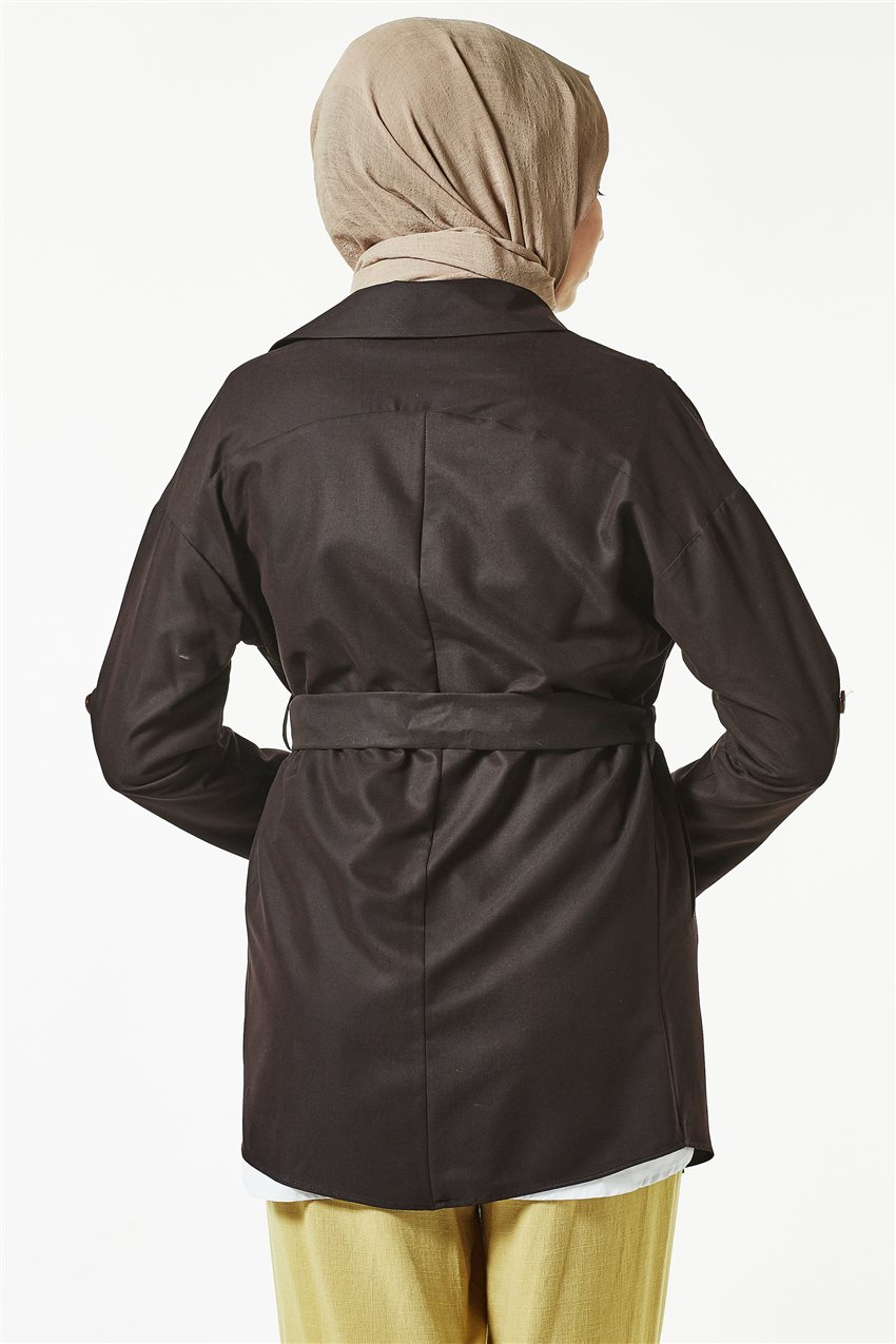 Trench Coat-Dark Brown TRN 7589-10 - 10