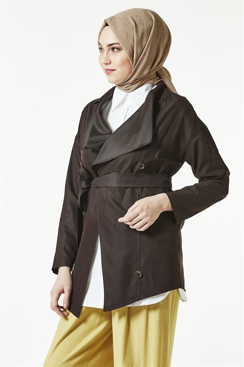 Trench Coat-Dark Brown TRN 7589-10 - 7