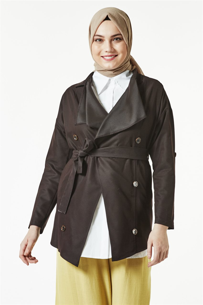 Trench Coat-Dark Brown TRN 7589-10 - 6