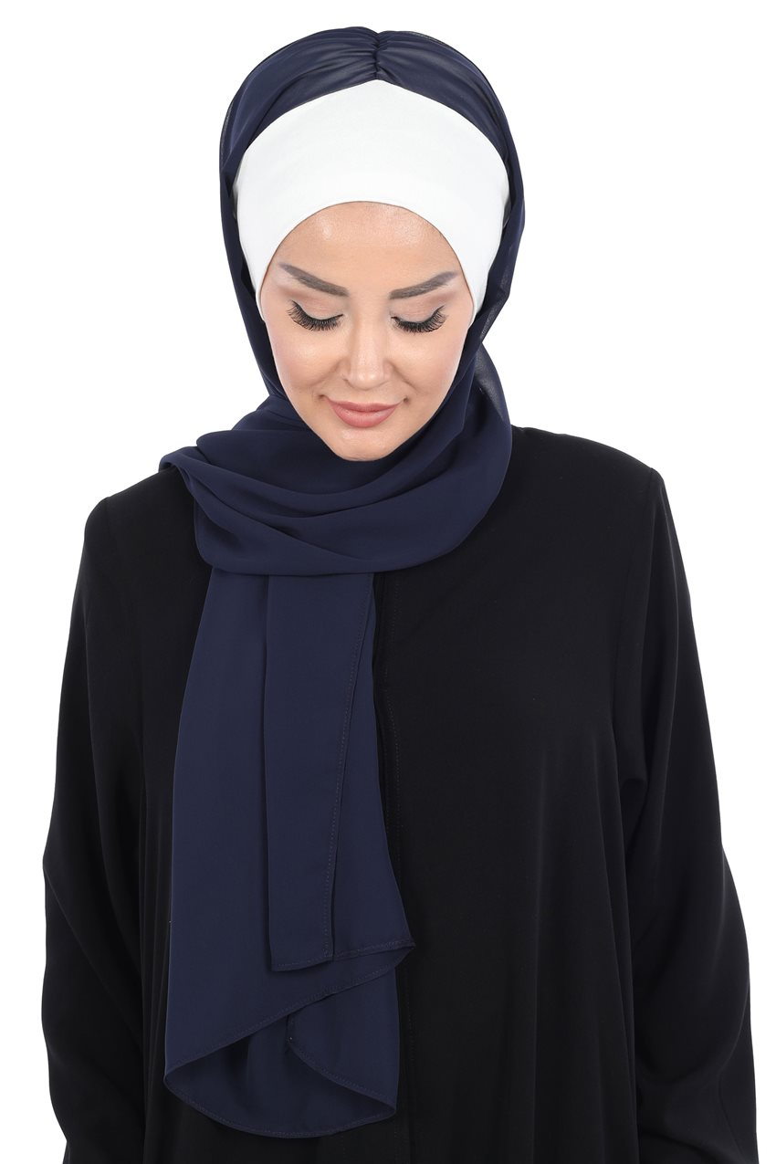 Ayşe Tasarim Shawl-Cream-Navy Blue BS-0002-8-23 - 8